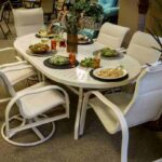 aluminum dining table with food