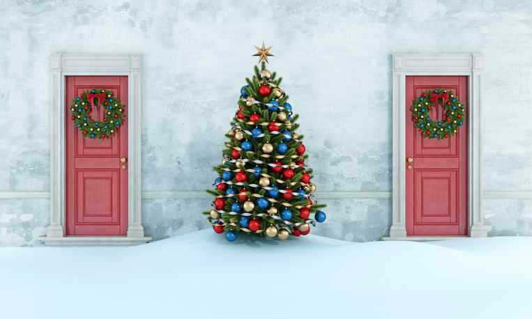 Christmas tree between two red doors